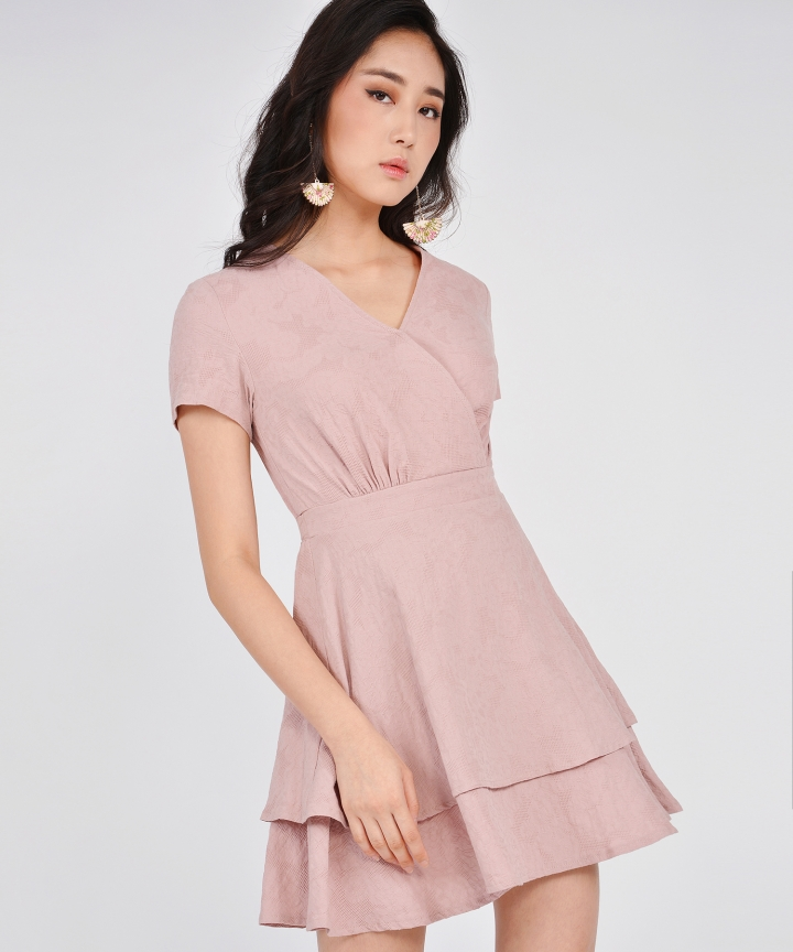 Angelica Textured Tiered Dress - Dust Pink (Restock)