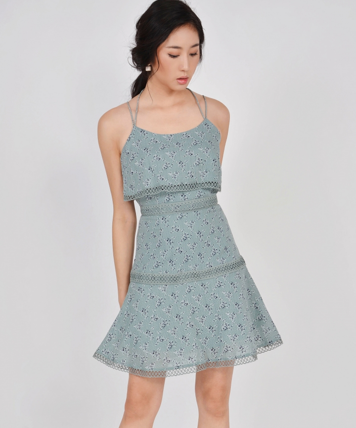 Devon Tiered Floral Dress - Seafoam