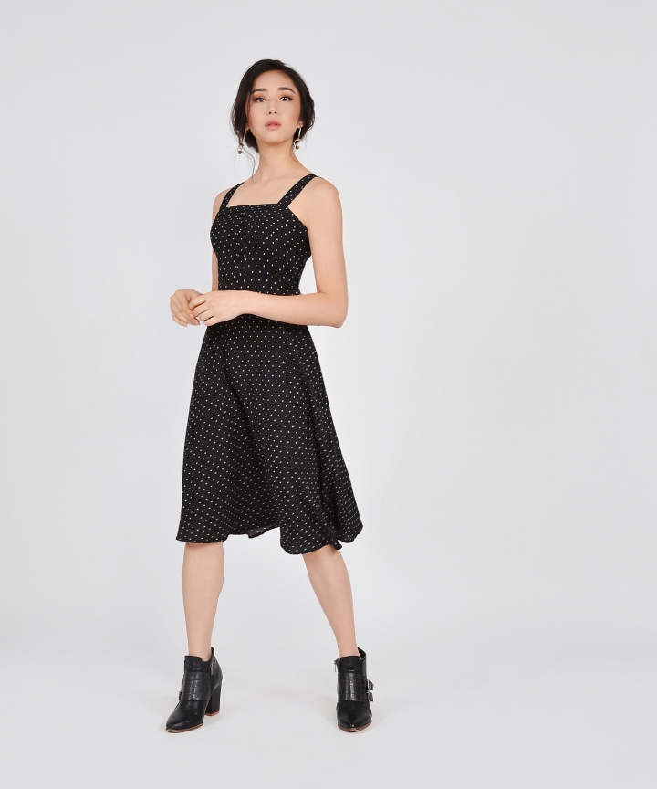 Etta Polka Dot Midi - Black