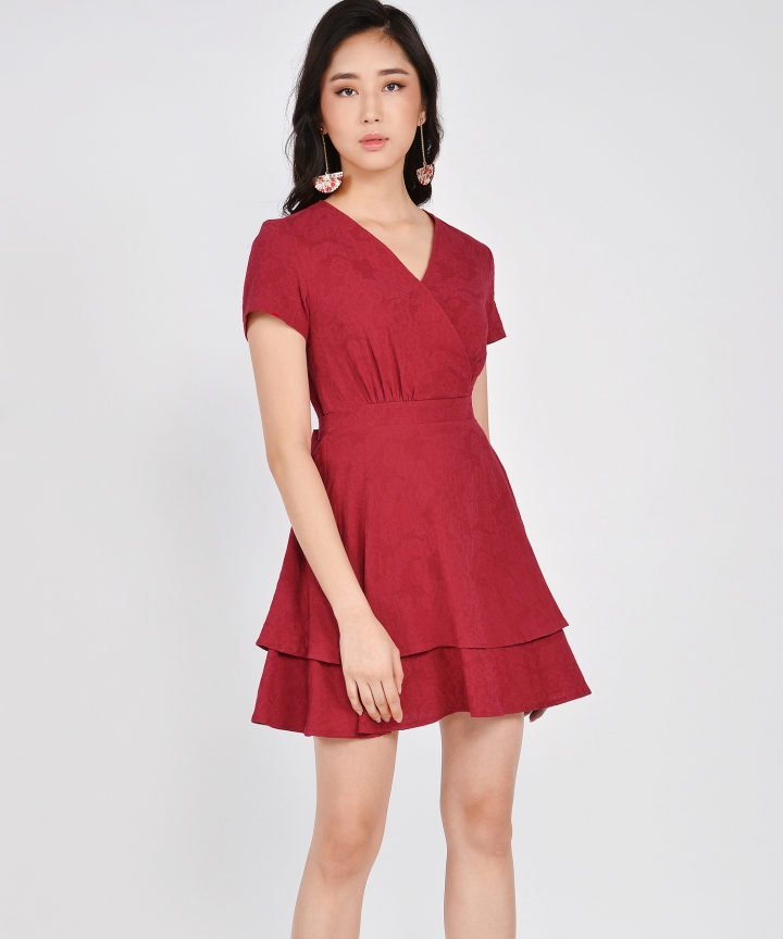 Angelica Textured Tiered Dress - Crimson (Restock)