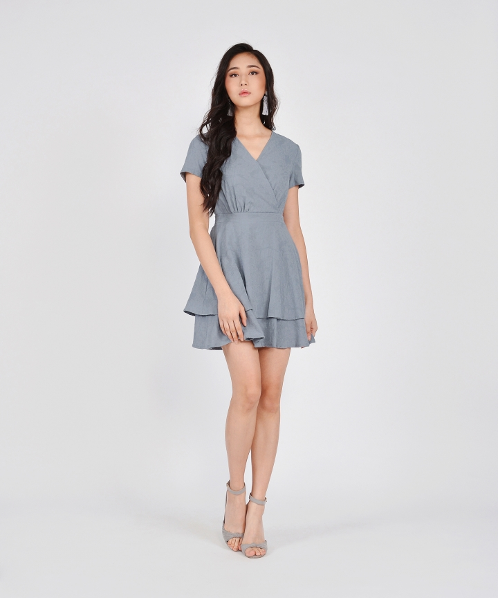 Angelica Textured Tiered Dress - Blue Grey (Restock)