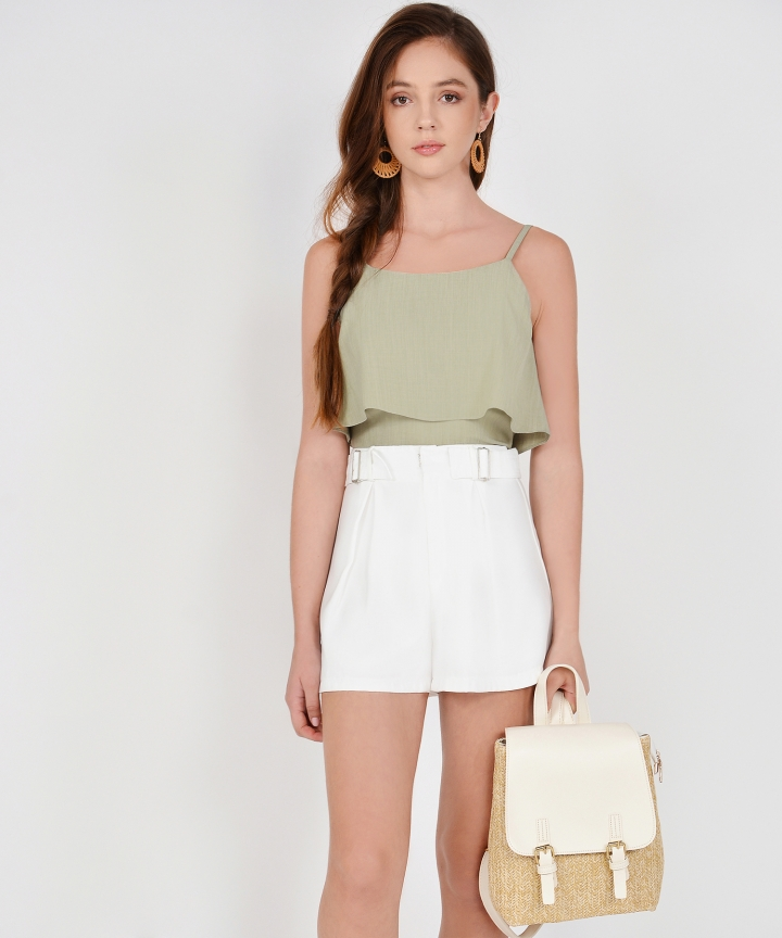 Sybil Overlay Cropped Top - Sage
