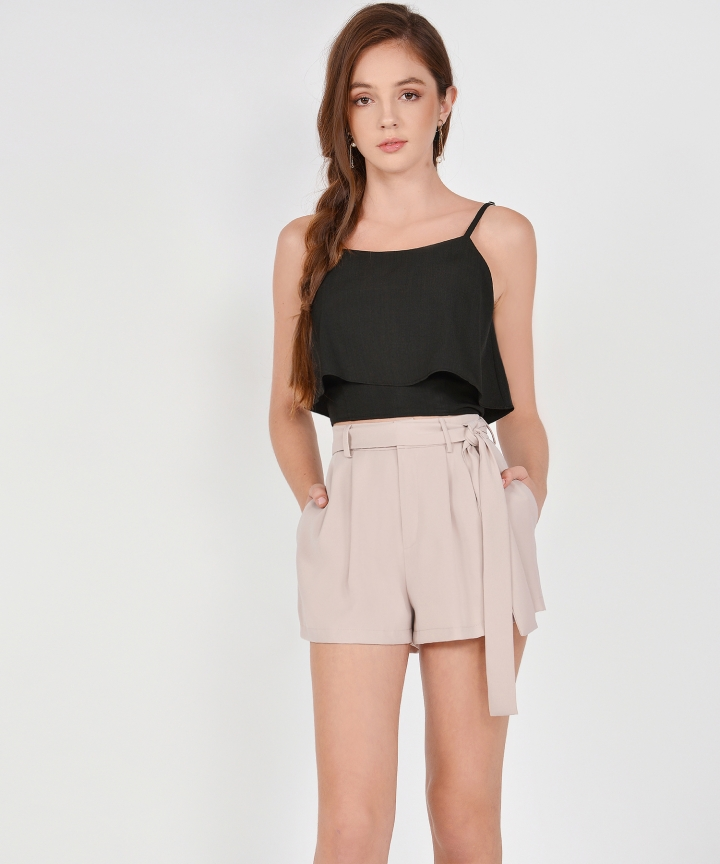 Sybil Overlay Cropped Top - Black