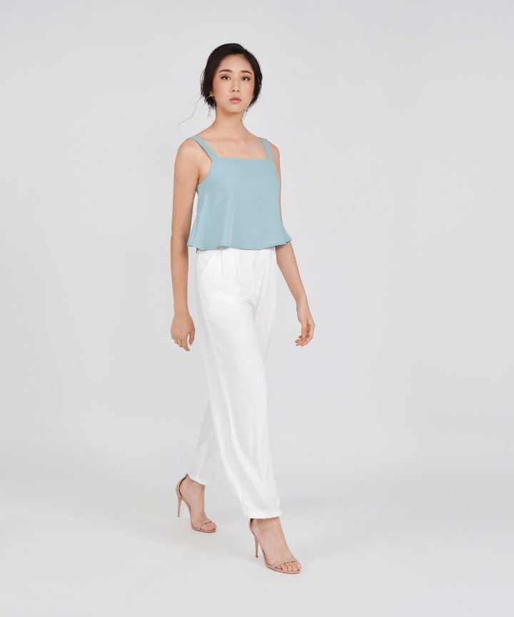 Paloma Flared Top - Pale Turquoise