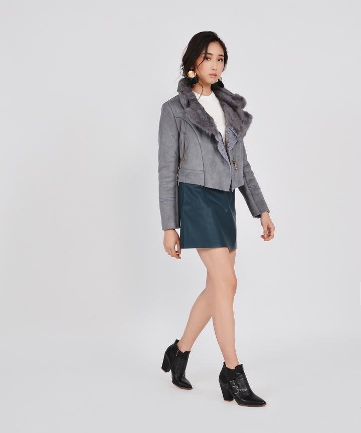 Selina Shearling Jacket - Grey