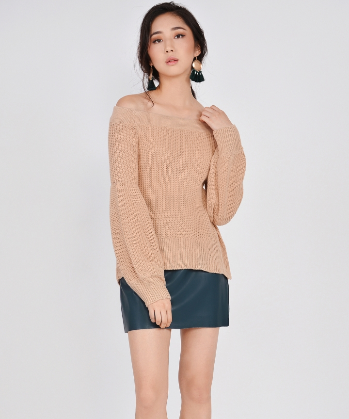 Onyx Knit Off-Shoulder Top - Nude
