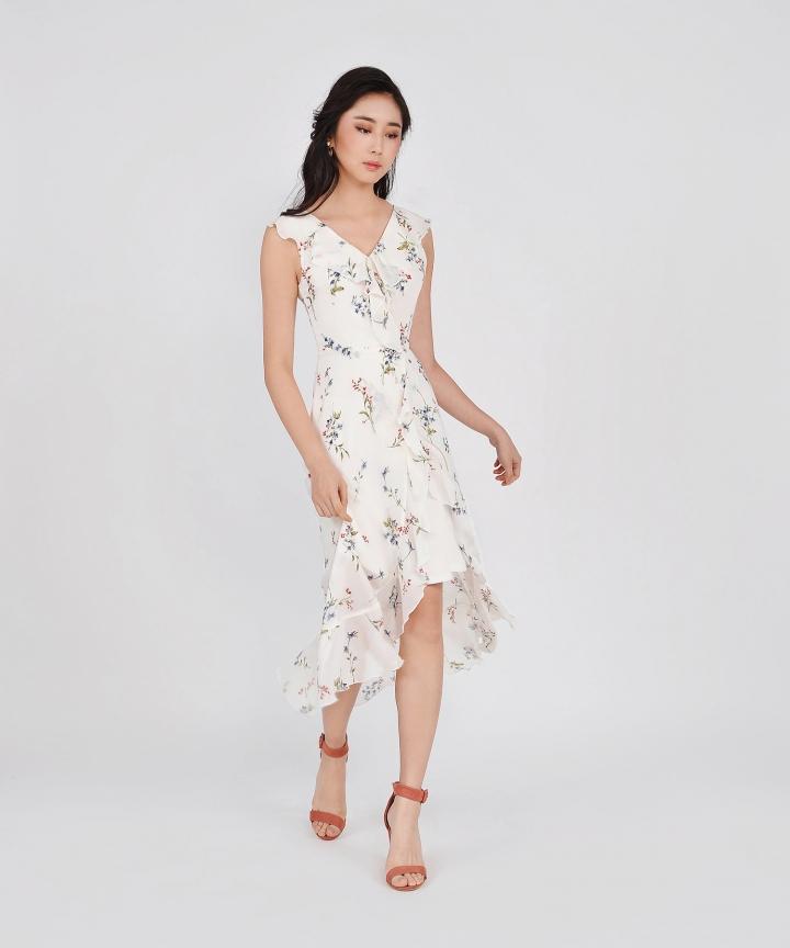 Amora Floral Ruffle Maxi - White