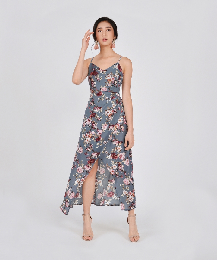 Dany Ruched Floral Maxi Dress - Grey