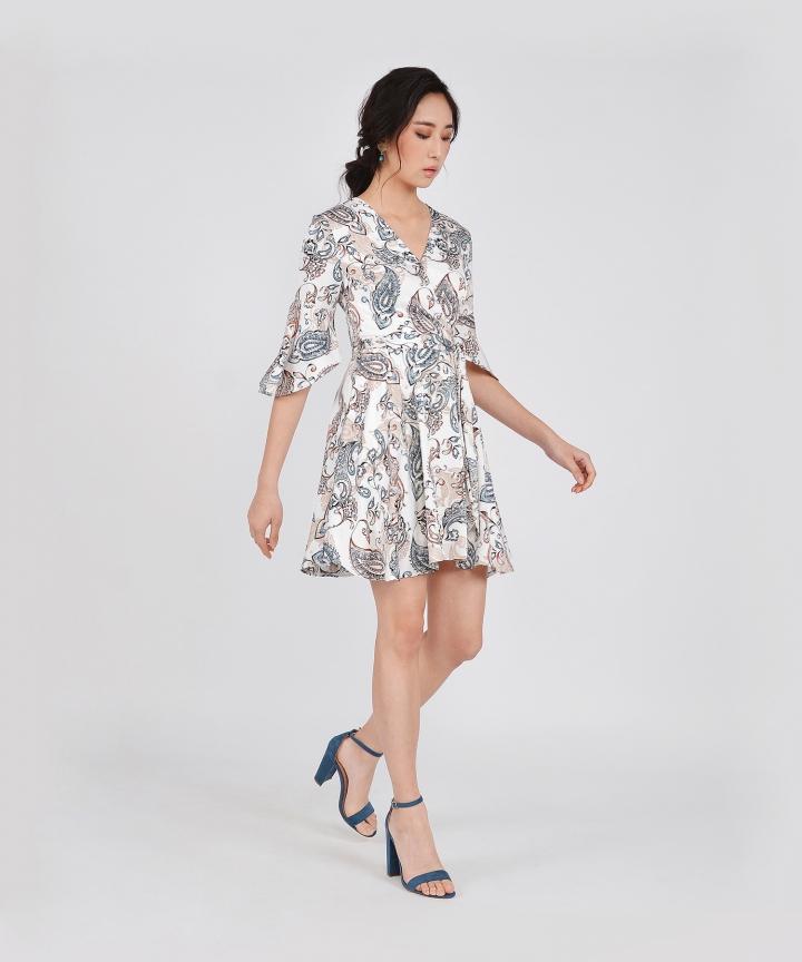 Spruce Printed Kimono Dress - White (Restock)