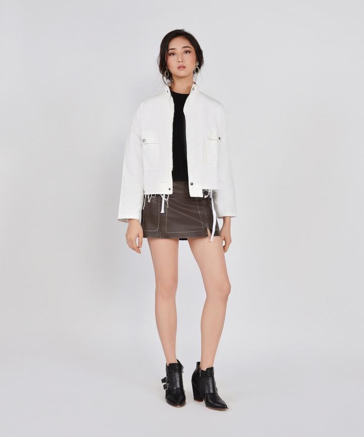 Milton Distressed Jacket - White