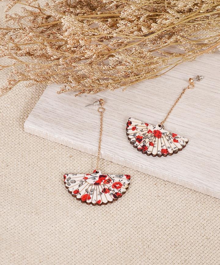 Oriental Floral Fan Earrings - Red