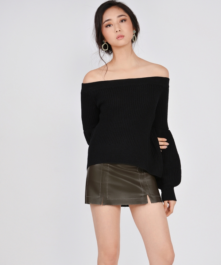 Onyx Knit Off-Shoulder Top - Black