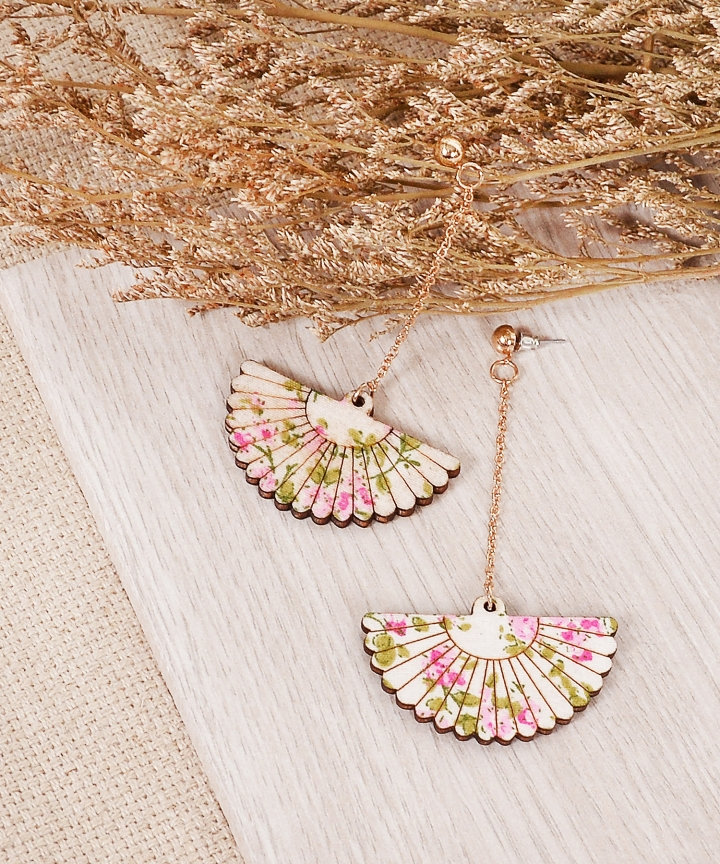 Oriental Floral Fan Earrings - Pink