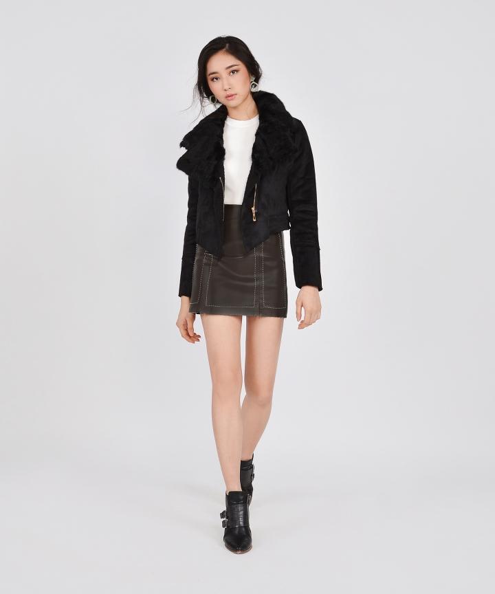Selina Shearling Jacket - Black