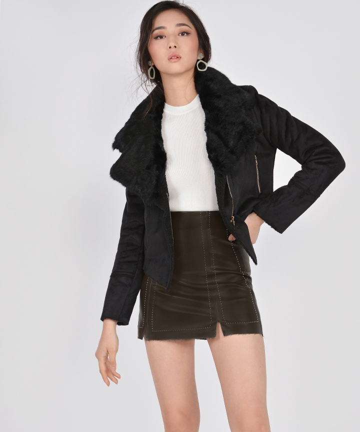 Selina Shearling Jacket - Black