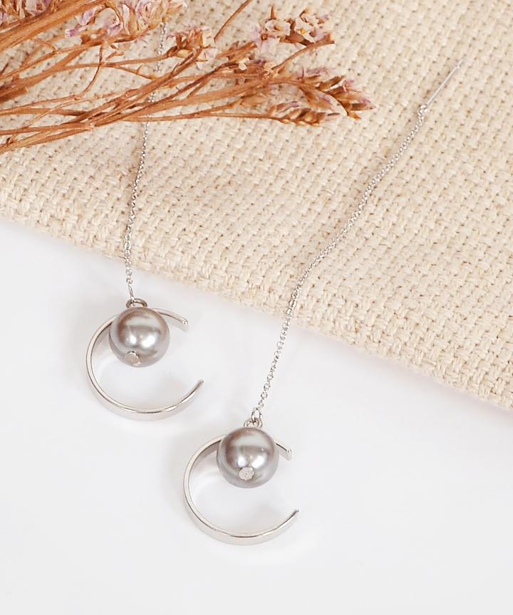 Orbis Crescent Pearl Earrings - Silver
