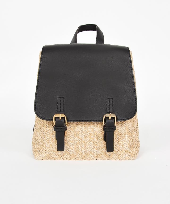 Tavi Straw Backpack - Black