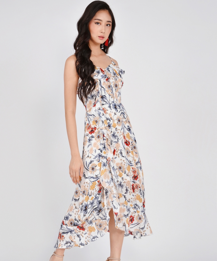Miriam Floral Ruffle Maxi - White (Backorder)