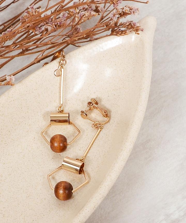 Hexagon Clip On Drop Earrings