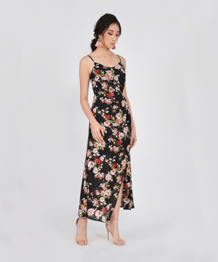 Dany Ruched Floral Maxi Dress - Black