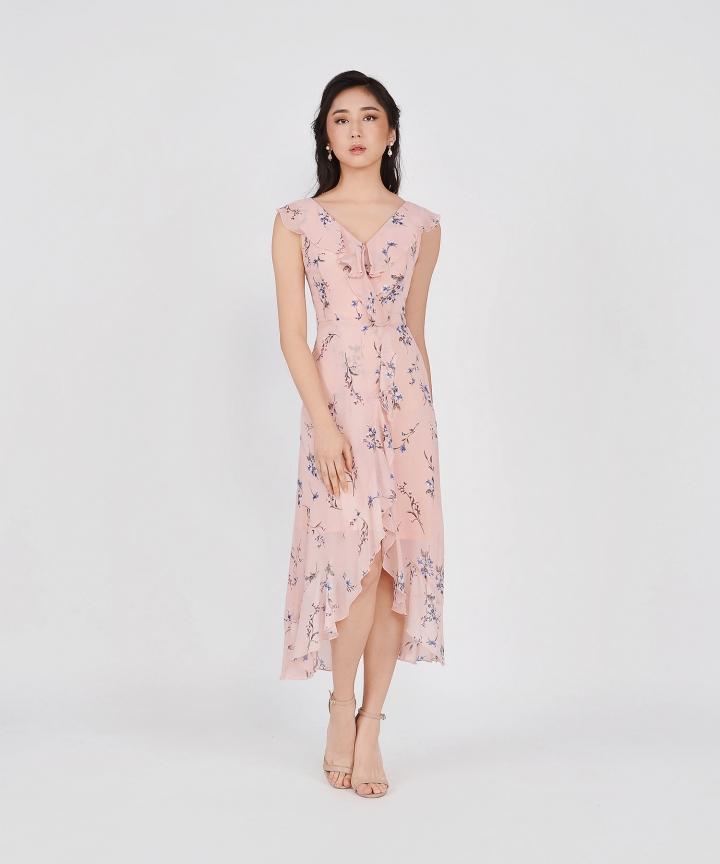Amora Floral Ruffle Maxi - Pale Pink