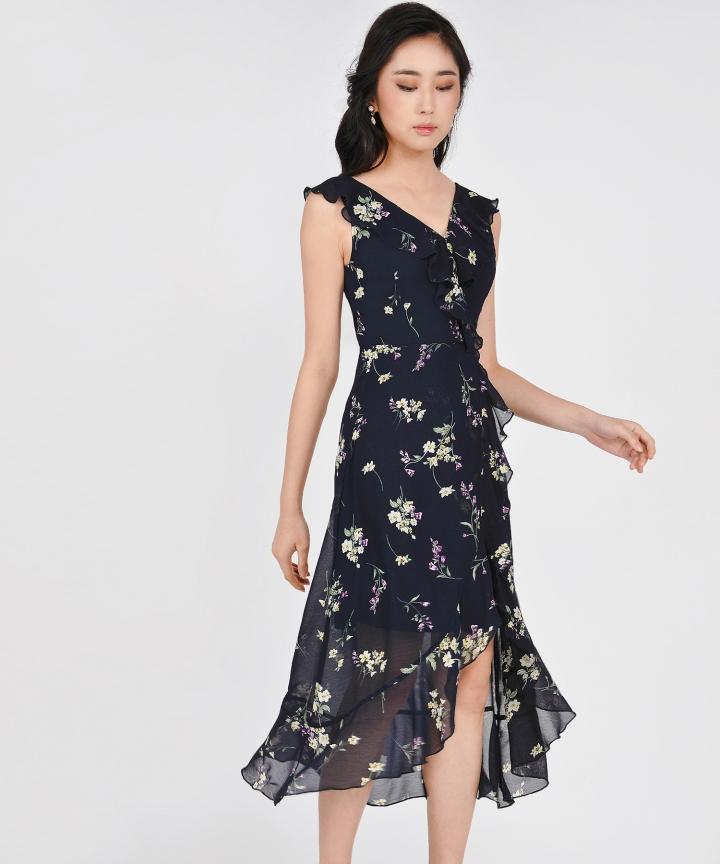 Amora Floral Ruffle Maxi - Midnight Blue