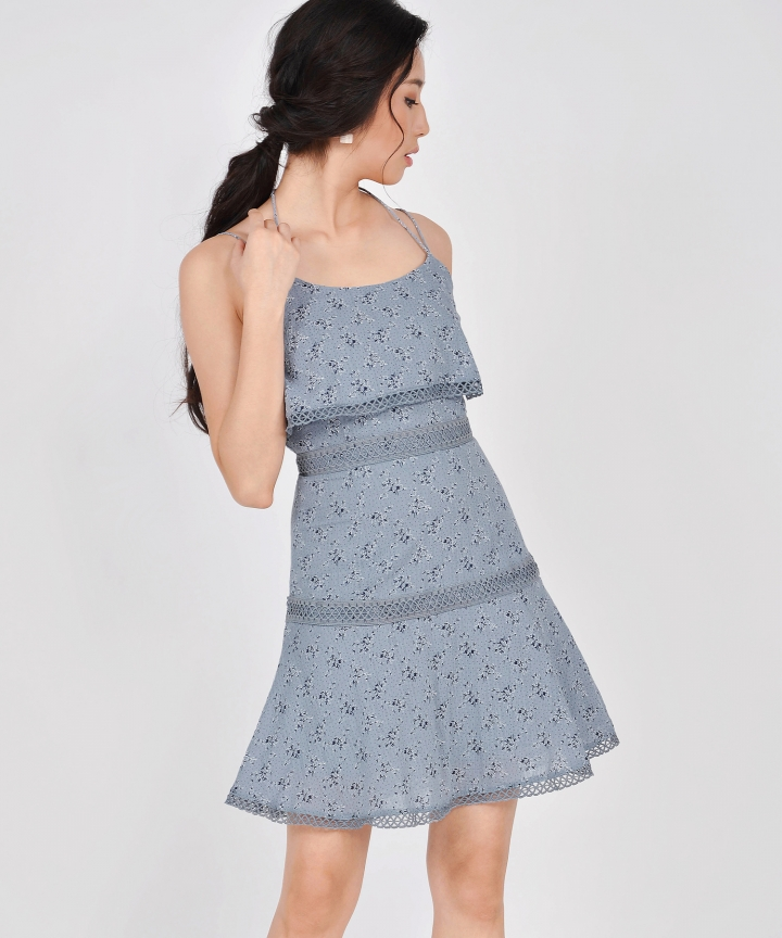 Devon Tiered Floral Dress - Mist Blue