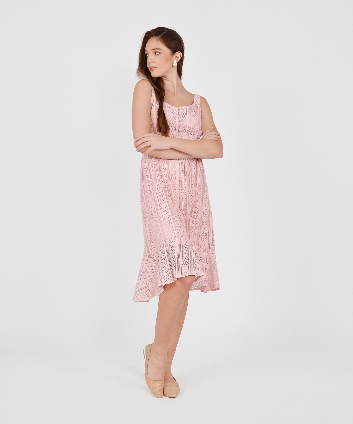 Cecilia Eyelet Ruffle Midi - Pink
