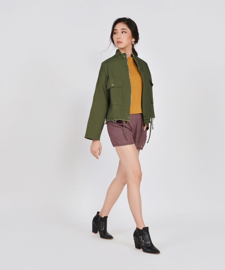 Milton Distressed Jacket - Army Green