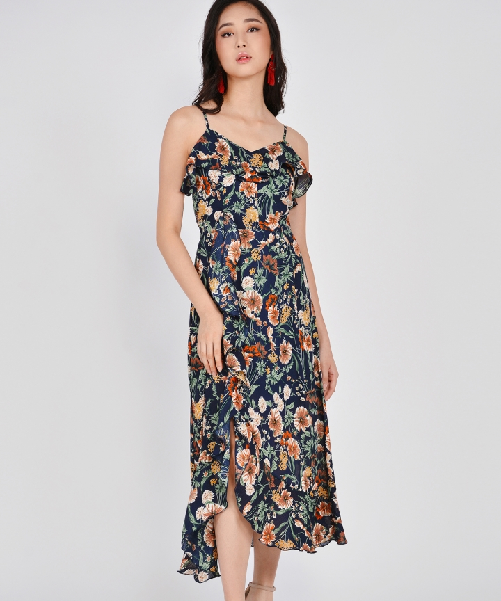 Miriam Floral Ruffle Maxi - Navy (Backorder)