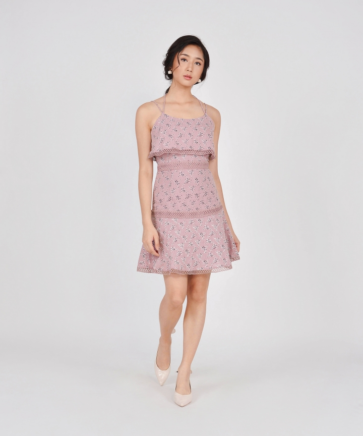 Devon Tiered Floral Dress - Dust Pink