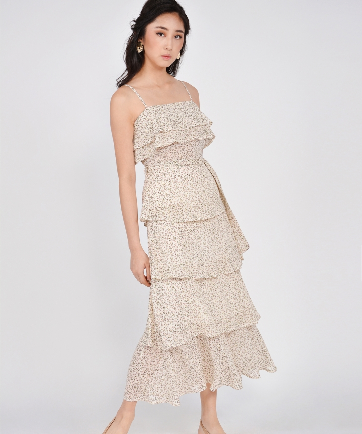 Rosemarie Floral Tiered Maxi - Cream (Backorder)