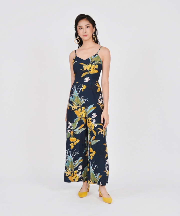 Riviera Floral Jumpsuit - Navy (Restock)