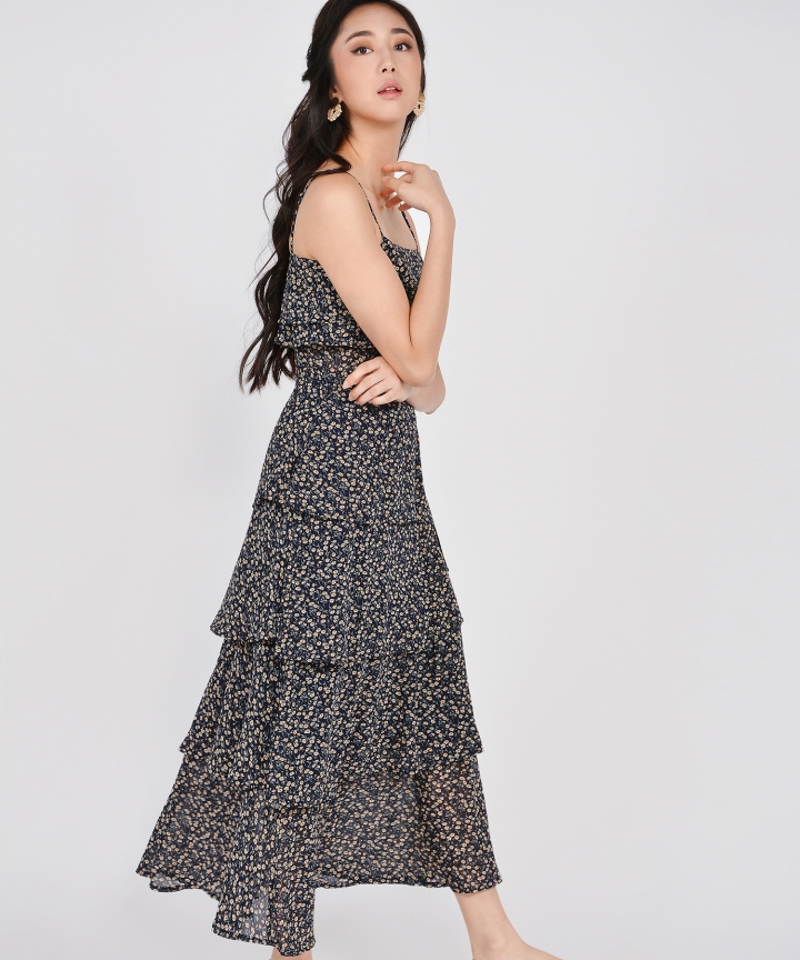 Rosemarie Floral Tiered Maxi - Navy (Backorder)