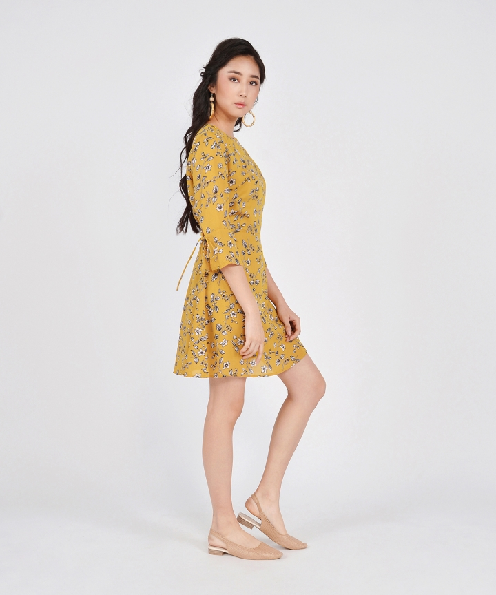 Cherub Floral Dress - Mustard