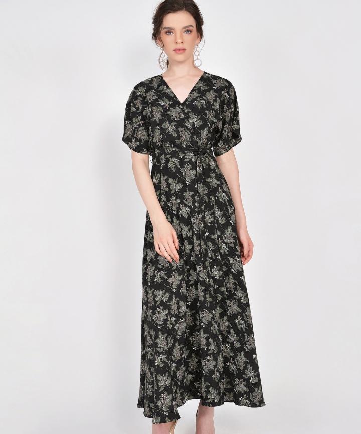 Tzar Floral Kimono Maxi - Black (Backorder)