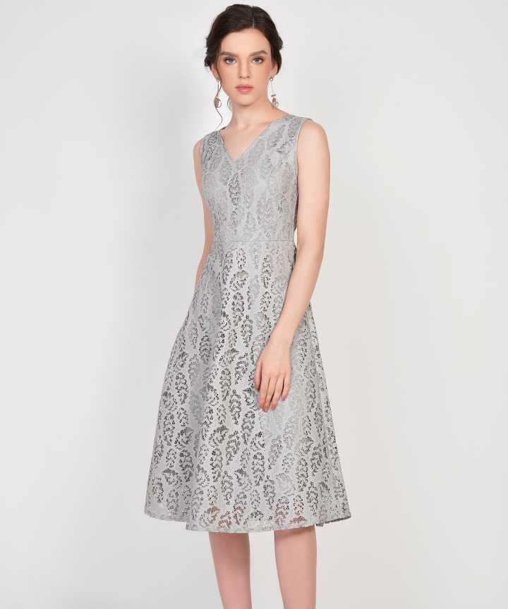 Karina Lace Midi - Grey
