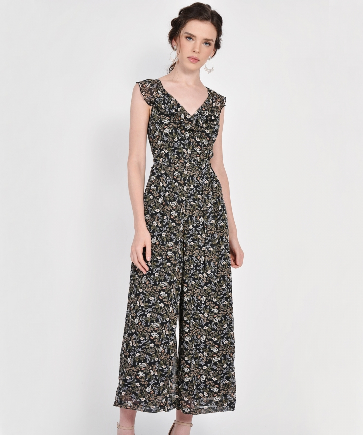 Kerri Floral Ruffle Jumpsuit - Black