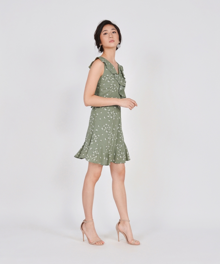 Faye Ruffle Dress - Sage