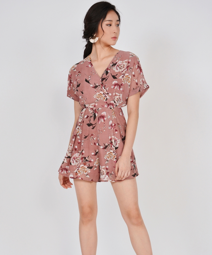 Minami Floral Kimono Playsuit - Rose (Backorder)