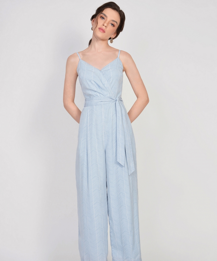 Sierra Striped Jumpsuit - Pale Blue