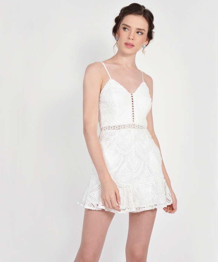 Essence Crochet Playsuit - White