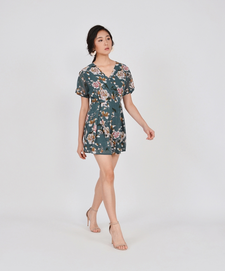 Minami Floral Kimono Playsuit - Dark Teal (Backorder)