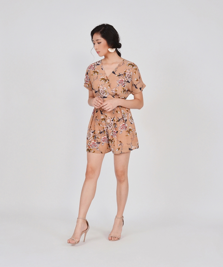 Minami Floral Kimono Playsuit - Pale Terracotta