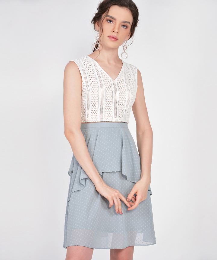 Cecilia Eyelet Cropped Top - White