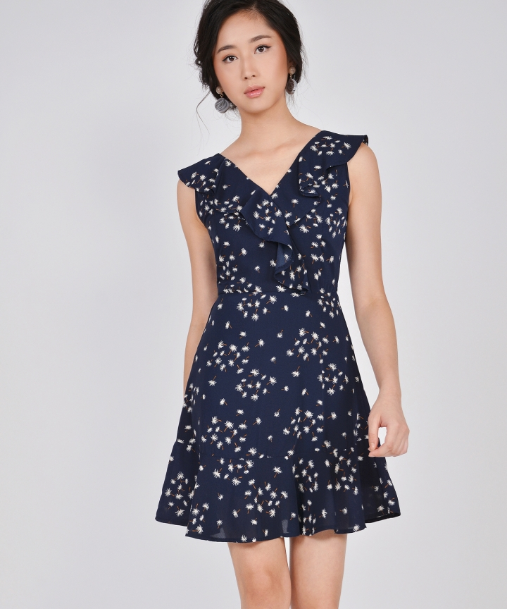 Faye Ruffle Dress - Midnight Blue