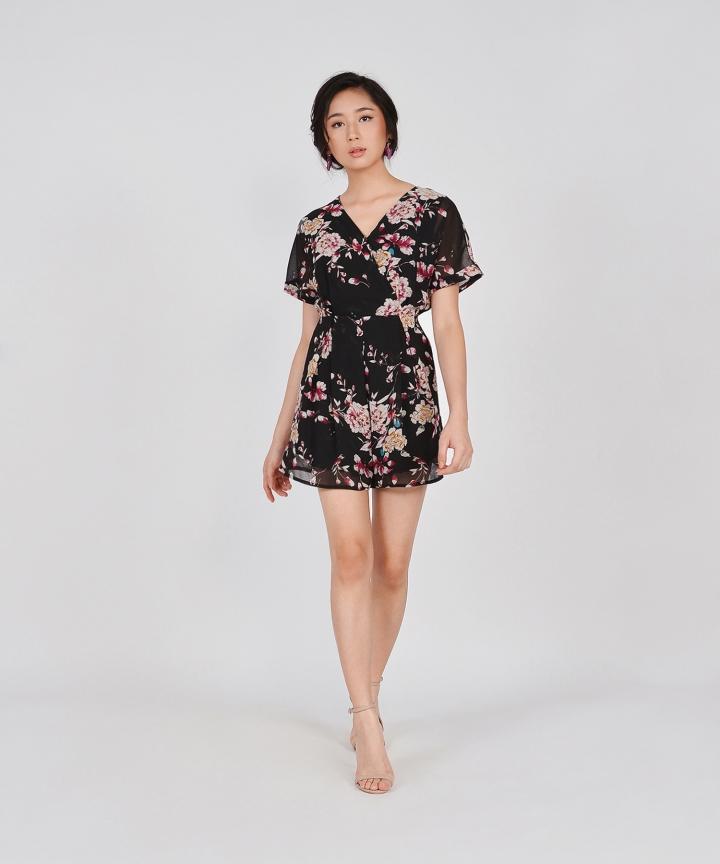 Minami Floral Kimono Playsuit - Black (Backorder)