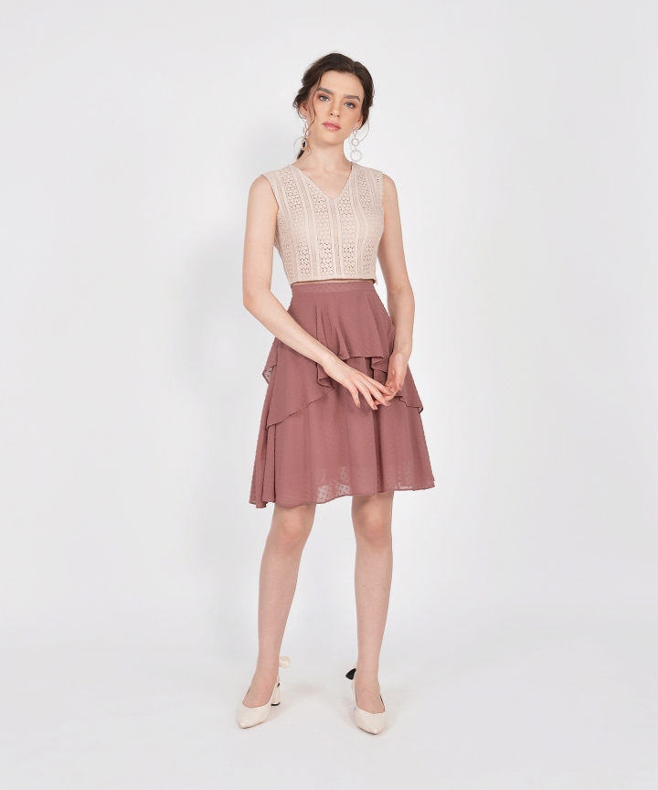 Whimsy Textured Skirt - Redwood