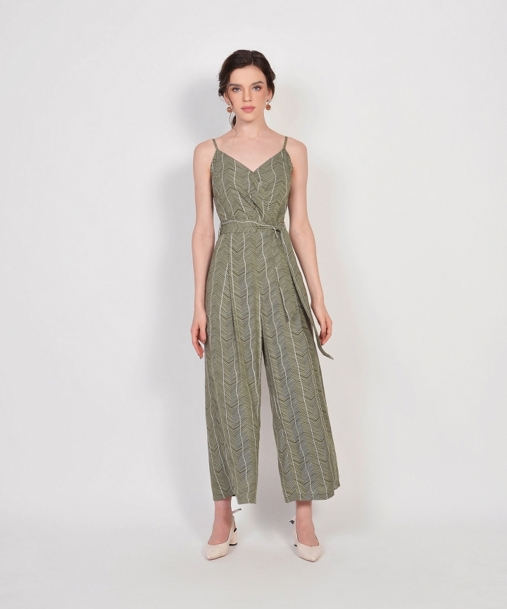 Sierra Striped Jumpsuit - Olive