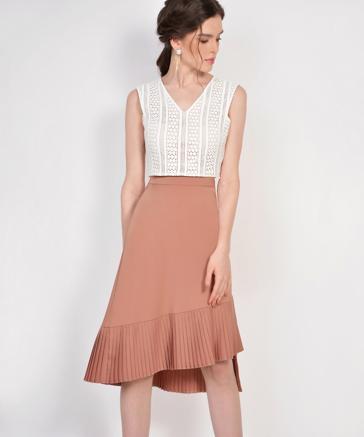 Tranquil Pleated Skirt - Amber Brown